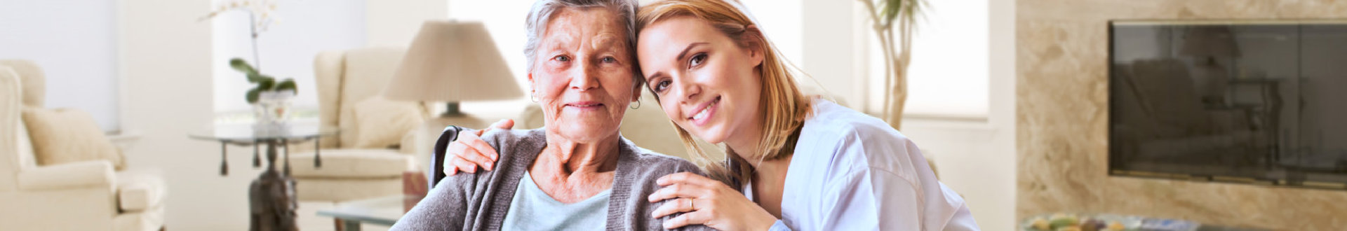 elderly woman together with a young woman